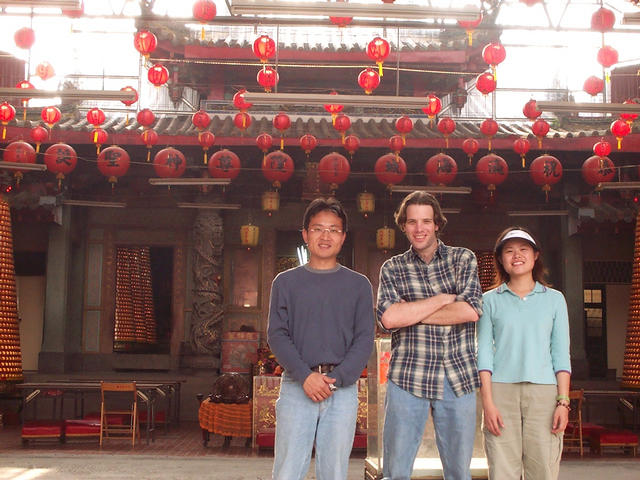 Frank, Greg and Anny in front of Chenghuang temple in Puli