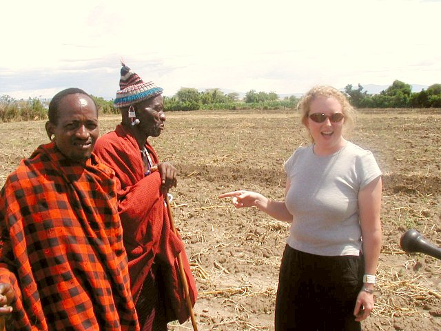 Sara discussing the merits of confluence finding with an Mzee from the village