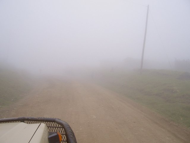 Driving through the fog along the Kipengere Mountains - this was good visibility!