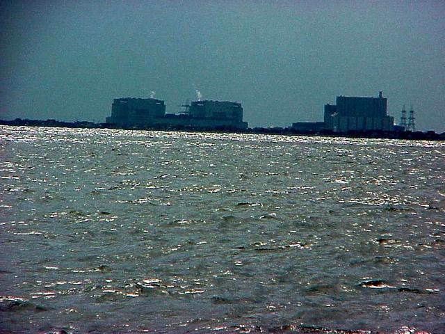View toward the southwest from the confluence, at the Dungeness Power Station.
