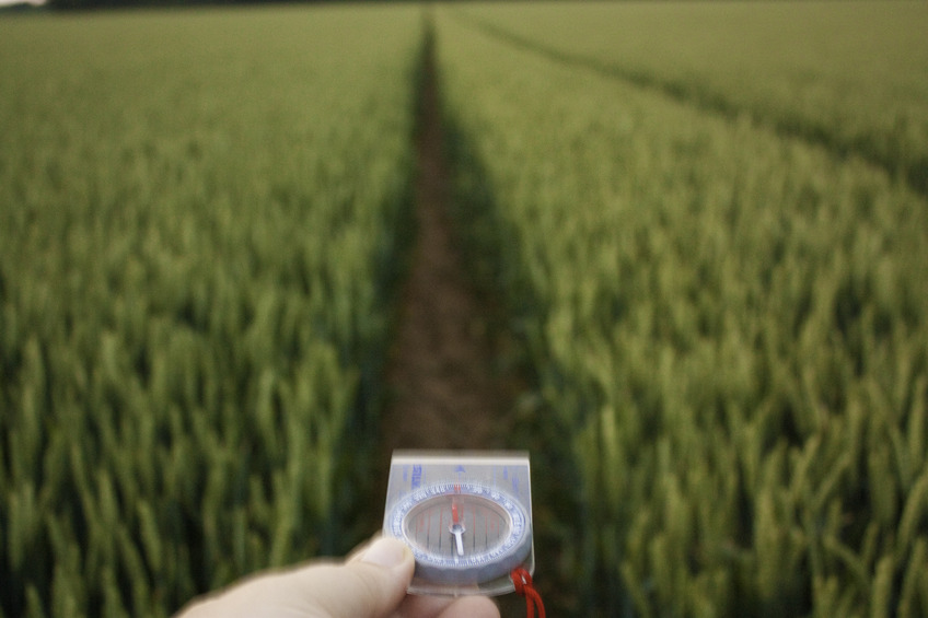 Tractor goes due North