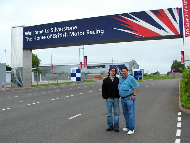 Alfredo & Alfredo at Silverstone motor racing track main entrance.