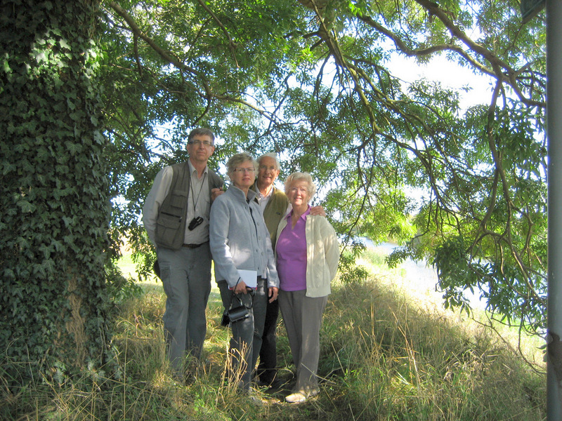 The confluence team - Alan, Carolyn, Gerald and Joyce Fox pictured under a tree beside Cowbridge Drain near Sibsey Road.