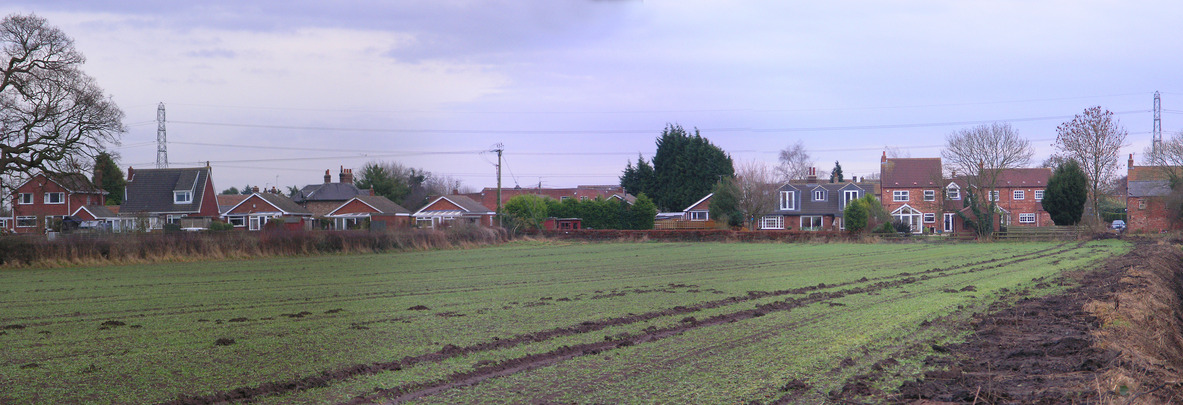 The houses at the edge of the field, seen from the point