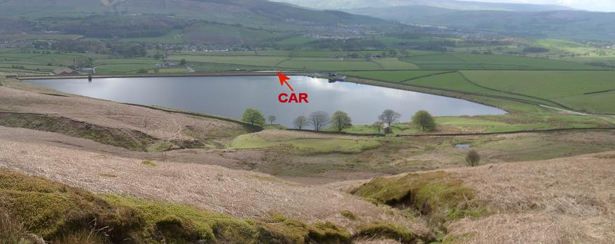 View to SOUTH - Embsay Reservoir & village