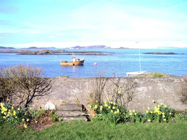 View from Luing - Wayfarer dinghy and local fishing boat