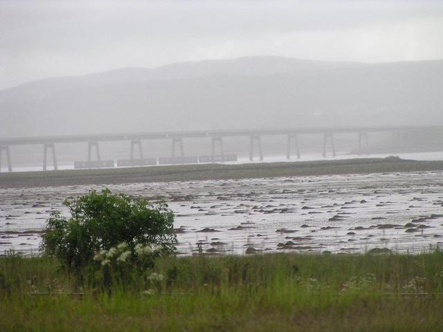 the bridge over Dornoch Firth in a heavy rainshower
