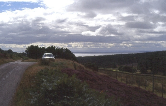 carpark and view to the Dornoch Firth