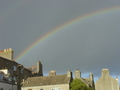 #11: In between frequent bands of rain showers, this rainbow in the centre of Kirkwall points towards 59N 03W.