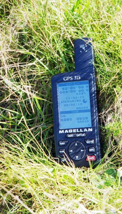GPS reading at the confluence point