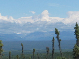 #1: Closest point to the confluence.  Mt. Wrangell is wide white mountain above the clouds.
