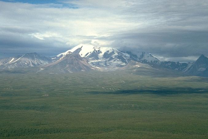 The eastern flank of Mt Drum, near Copper Center, Alaska, from the air.
