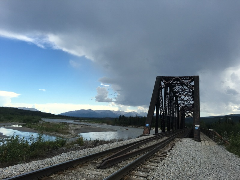 The railroad bridge across Nenana River