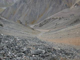 #1:  Steep scree slope dropping down from exact confluence