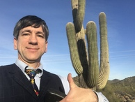 #2: Joseph Kerski near the confluence point near a quintessential Arizona plant form--the Saguaro.
