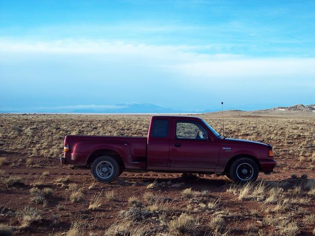 Truck and San Francisco Peaks in the background.