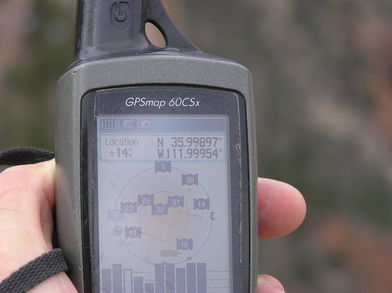 My GPS receiver, 403 feet from the confluence point