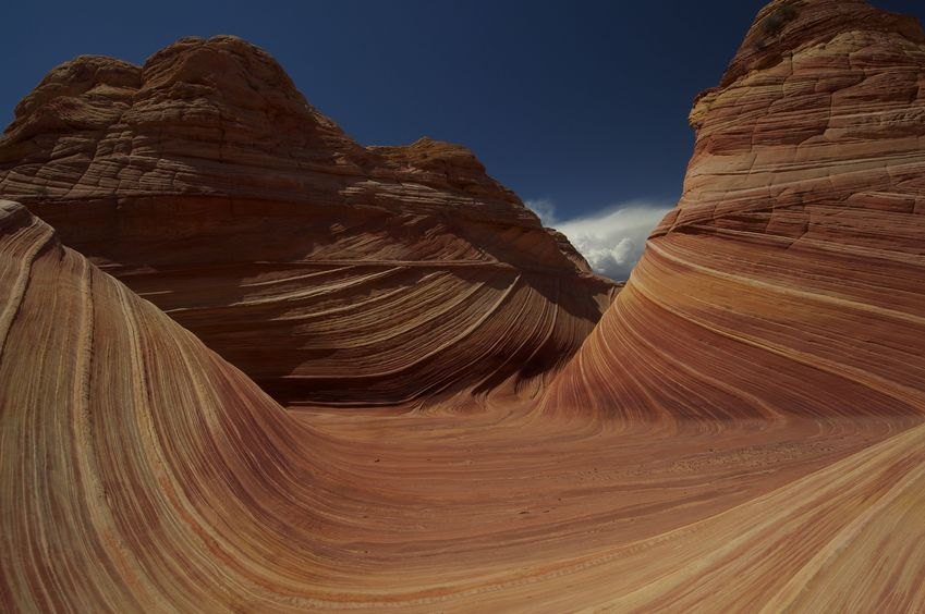 "The famous ""Wave"" sandstone formation, just 1/2 mile from the confluence point"