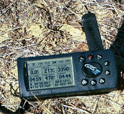 My GPS receiver's display at the confluence point.