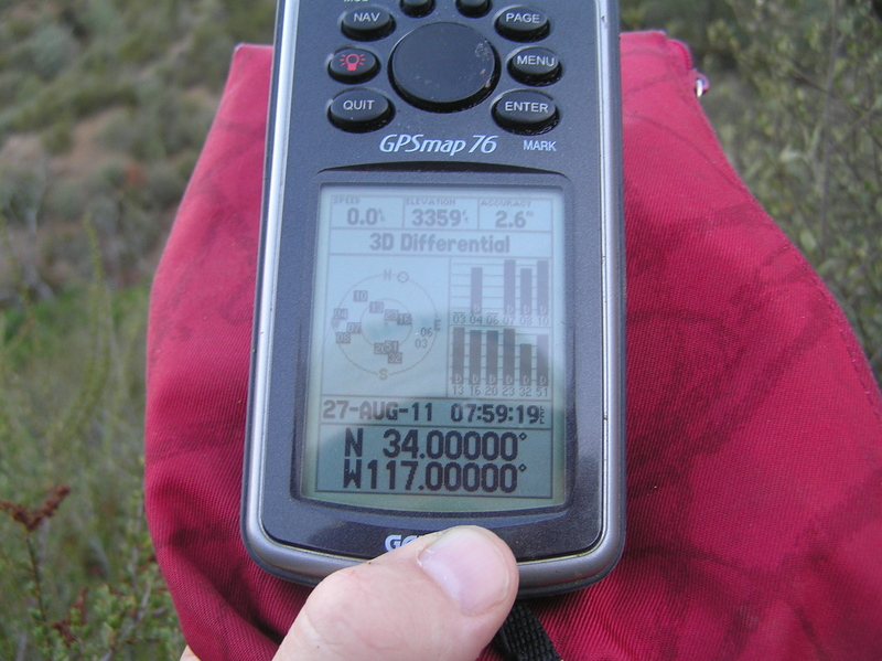 GPS reading at the confluence point - 10 satellites in view.