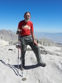 #9: The Confluence Hunter on top of Mt. Whitney, the high point of California, in fact the tallest peak in the lower 48 (or coterminous) states.