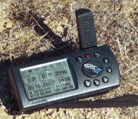 Ross's GPS receiver's display at the confluence point