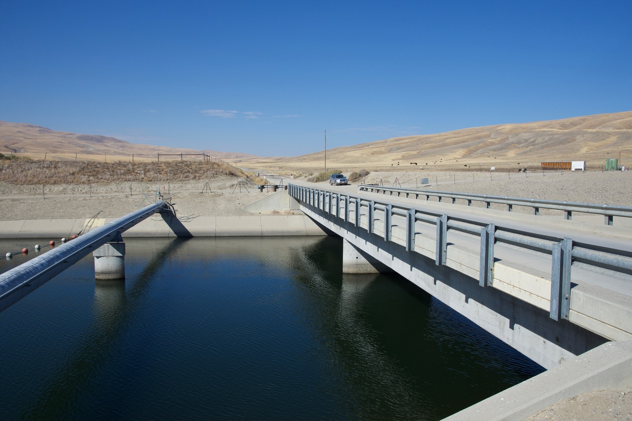 The California Aqueduct, just 0.5 miles from the point, which lies up the hills on the far right