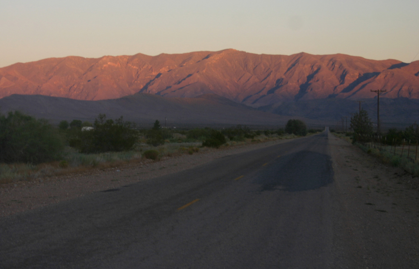Sunrise, taken shortly before starting the drive on the gravel road.