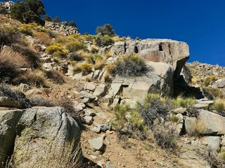#1: The confluence point lies within a rock-strewn drainage, at almost 6000 feet elevation