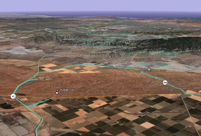 GoogleEarth perspective view with track log