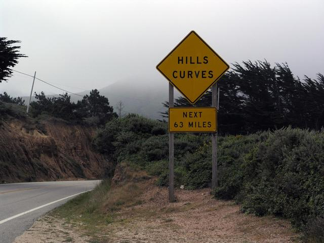Highway 1 has lots of hills and curves!