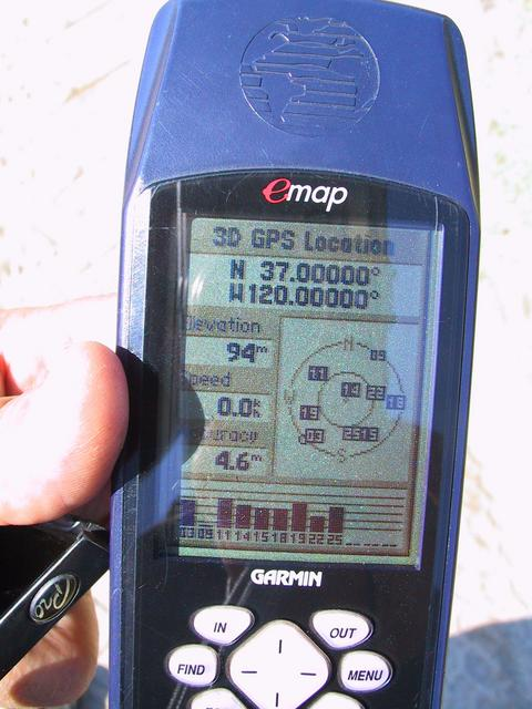 Picture of GPS at the confluence.