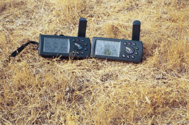 Two GPS displays at the confluence