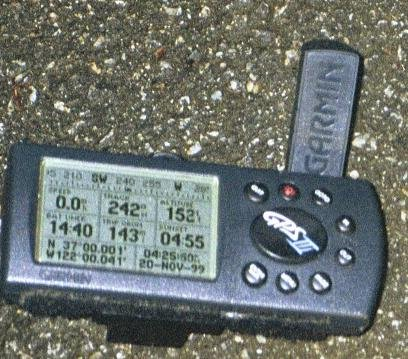 GPS display at the confluence.