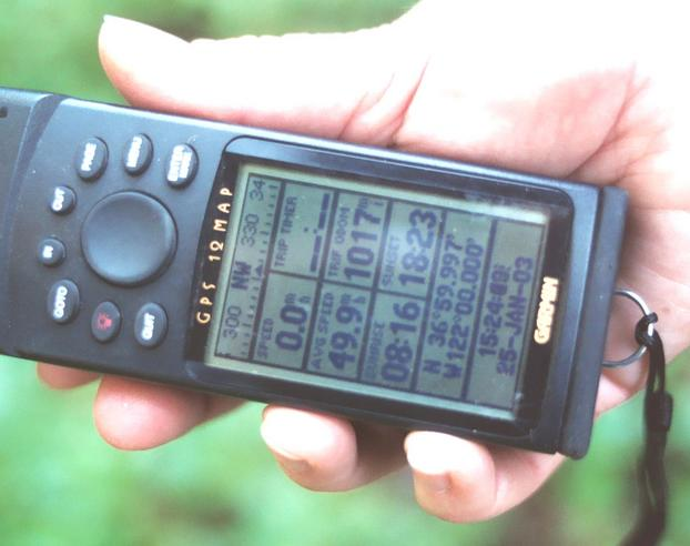 GPS reading from the footpath at the confluence.