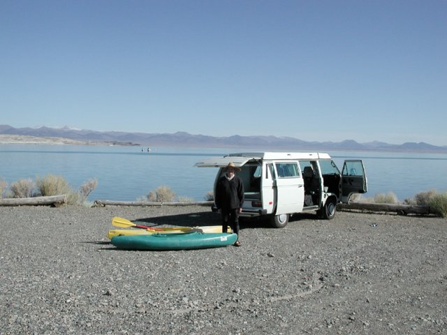 Getting ready to launch.  The confluence can be seen just above the middle of the van in the lake.