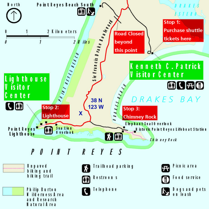 Park map showing winter road closures.