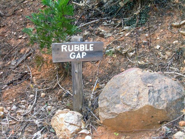 Sign at Rubble Gap - start your hike just to the right