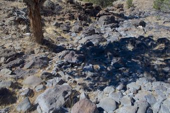 #1: The confluence point lies within a rocky creek bed - currently dry