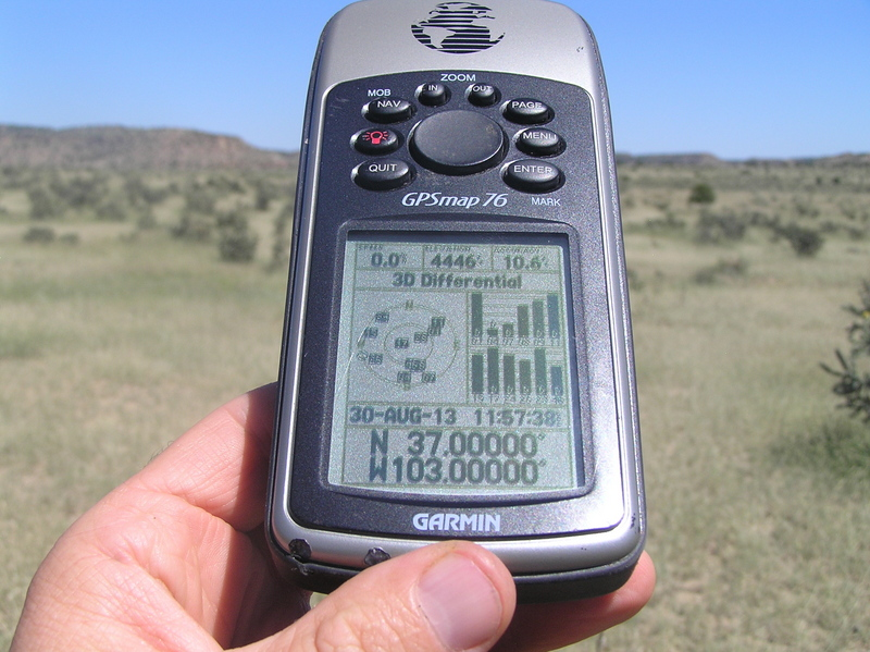 GPS reading at the confluence of 37 North 103 West.