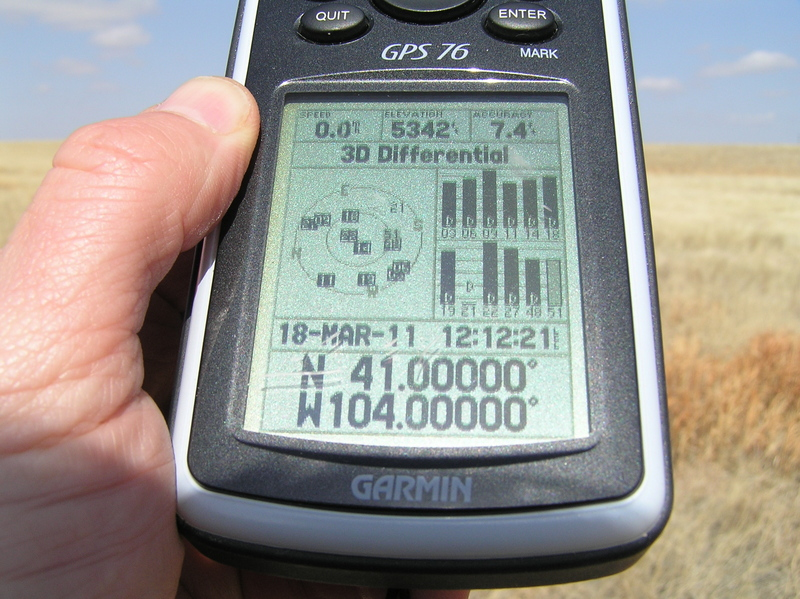 GPS reading at the confluence:  Quite a few satellite images visible here.