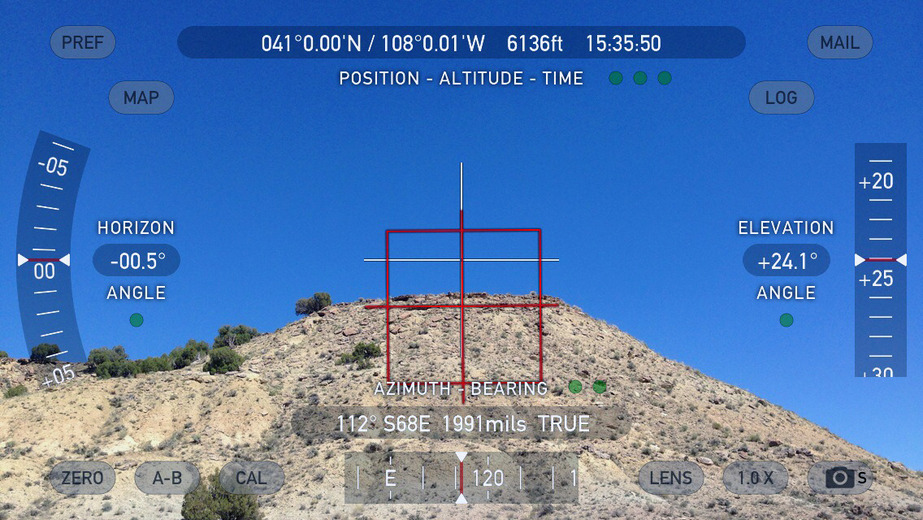 Theodolite view of peak
