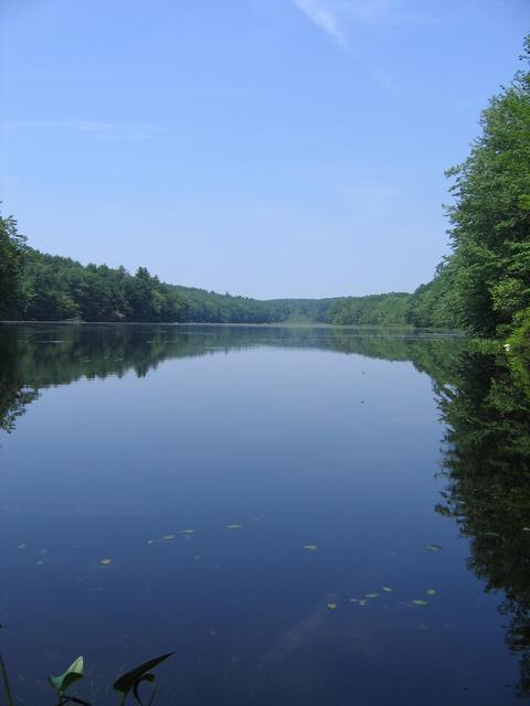 Morse Pond in MA, from the dam at the state line