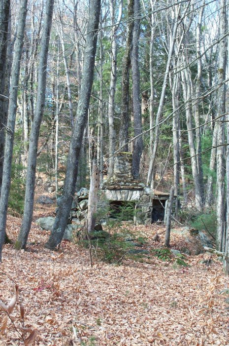 The old stone fireplace