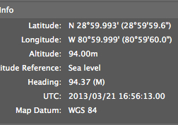 Latitude/Longitude from one of these photos' EXIF header (from my camera's GPS recorder)