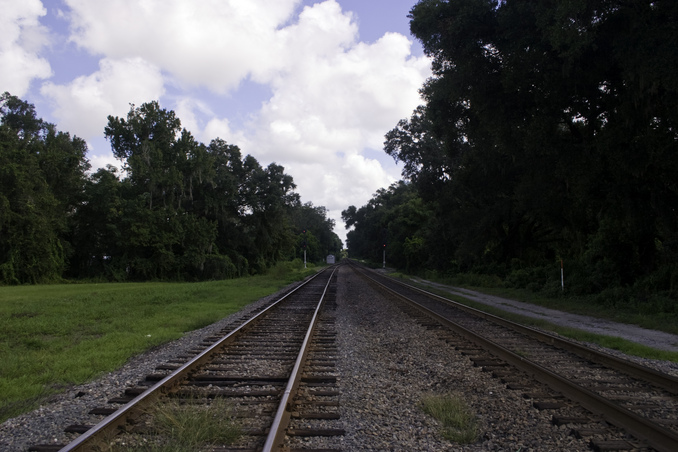Rail track going North
