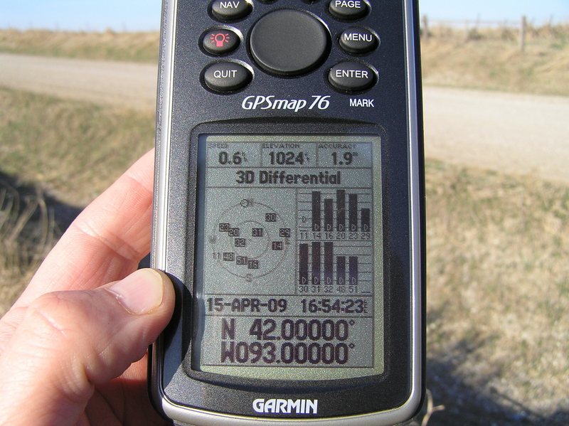 Victory!  GPS reading at the confluence site.  The local time was one hour later than the time shown here.