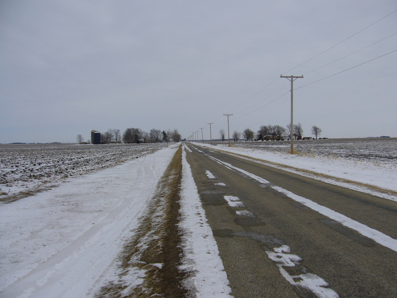 East: icy road