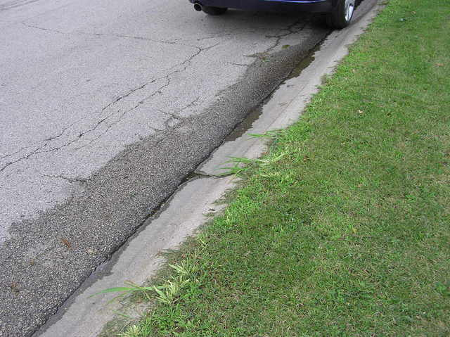 The confluence point lies either on the street, or the grass verge