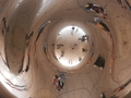 "#10: The Confluence Hunters take a picture from below the ""omphalos"" in ""the Bean."""